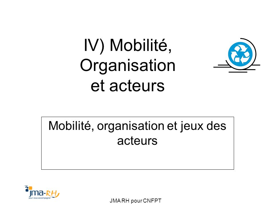 IV) Mobilité, Organisation et acteurs