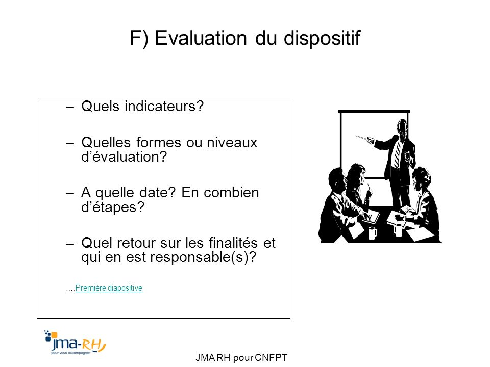 F) Evaluation du dispositif
