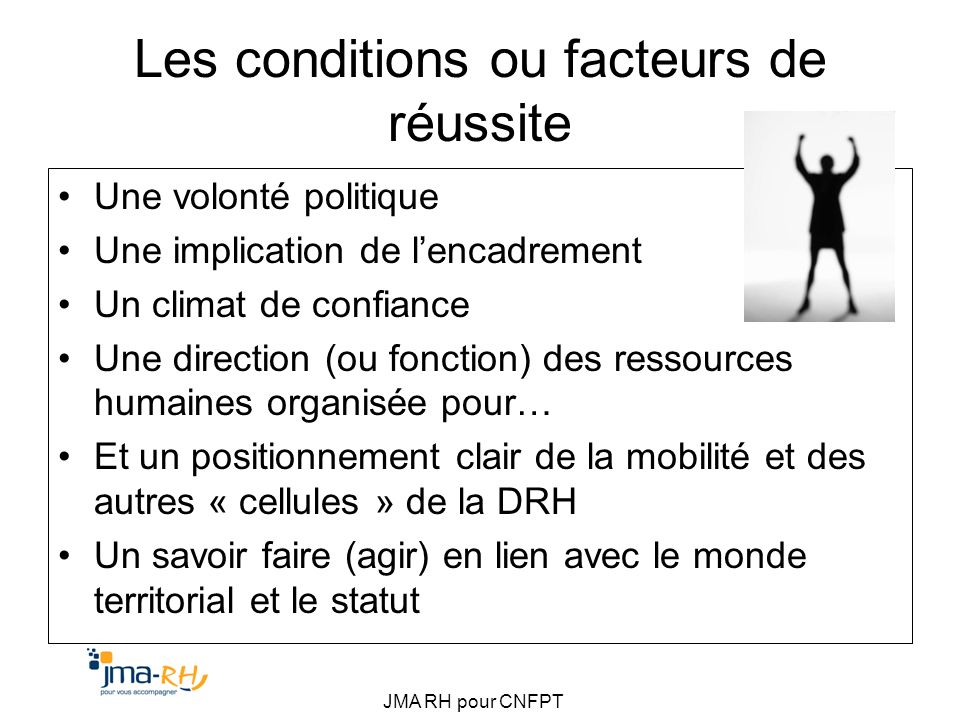 Les conditions ou facteurs de réussite
