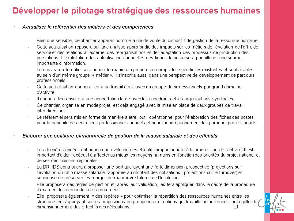 Développer le pilotage stratégique des ressources humaines