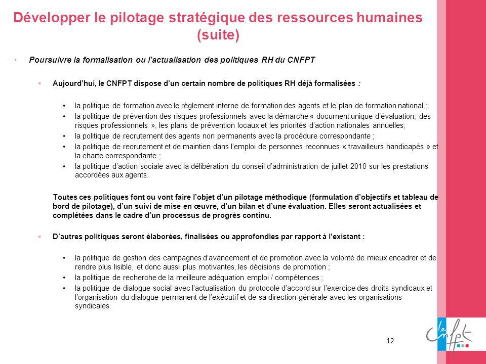 Développer le pilotage stratégique des ressources humaines (suite)