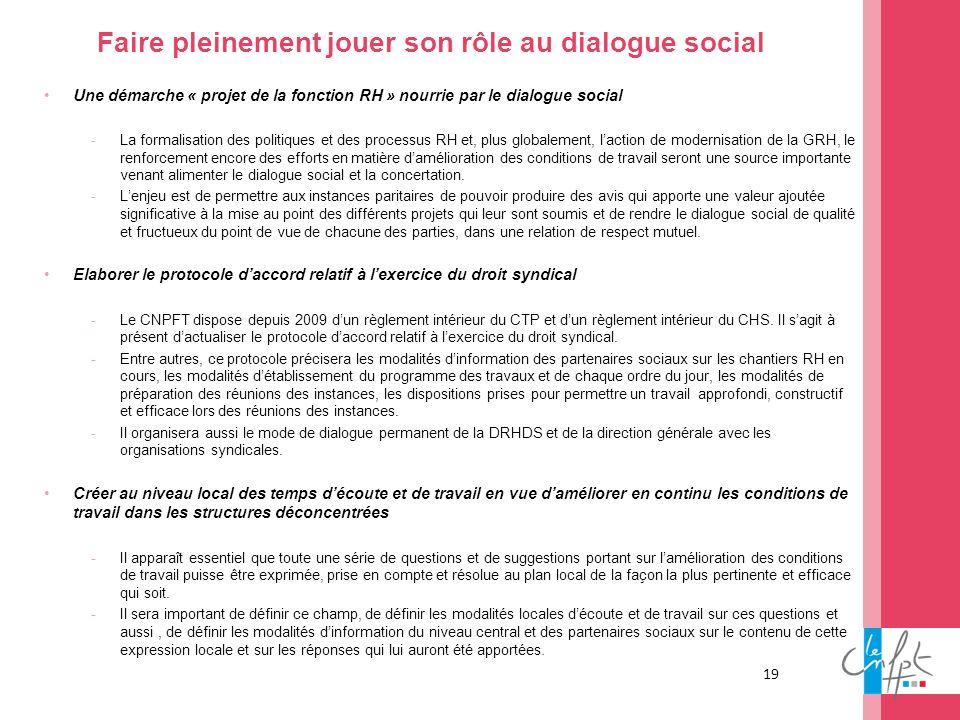 Faire pleinement jouer son rôle au dialogue social