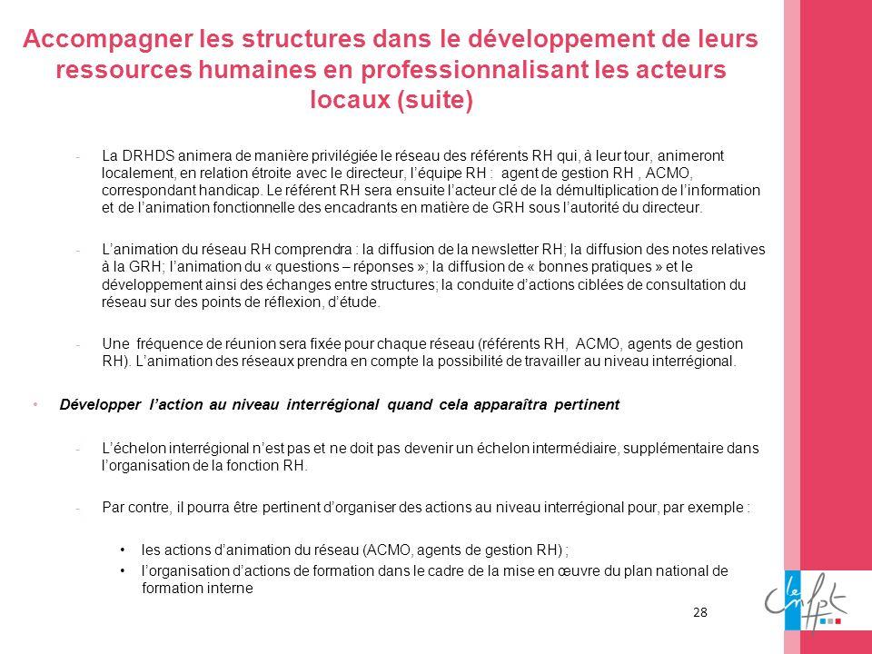 Accompagner les structures dans le développement de leurs ressources humaines en professionnalisant les acteurs locaux (suite)