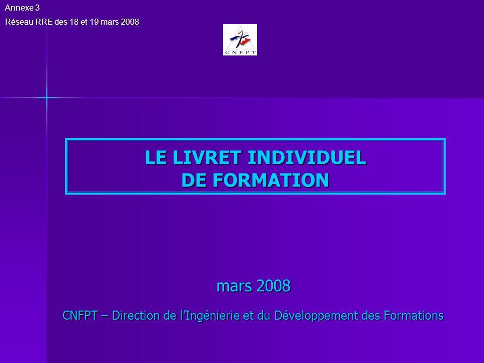 LE LIVRET INDIVIDUEL DE FORMATION
