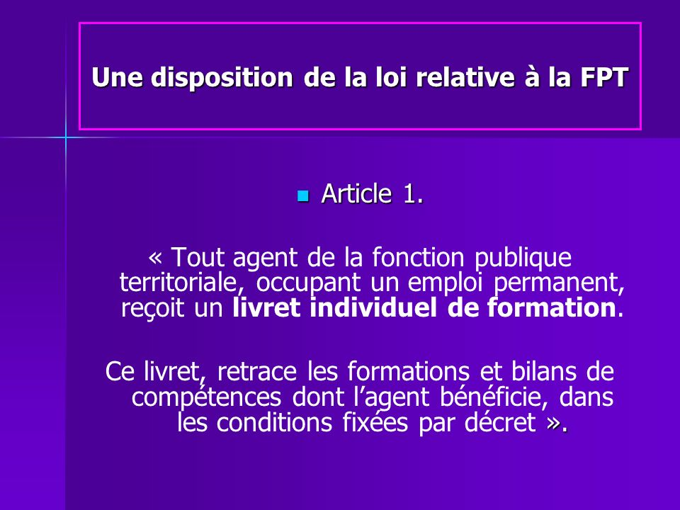 Une disposition de la loi relative à la FPT