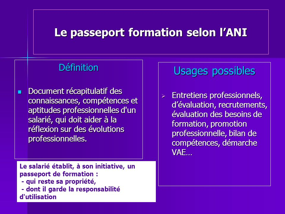Le passeport formation selon l'ANI