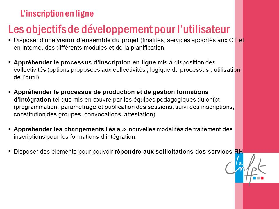 L'inscription en ligne