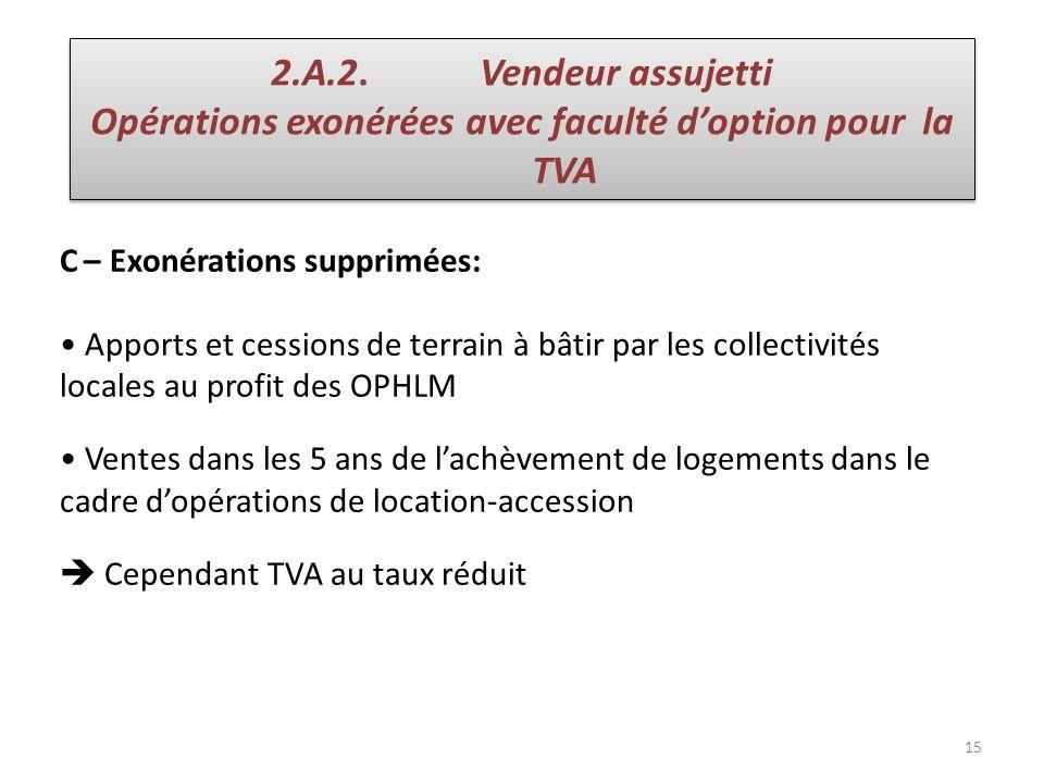 Opérations exonérées avec faculté d'option pour la TVA
