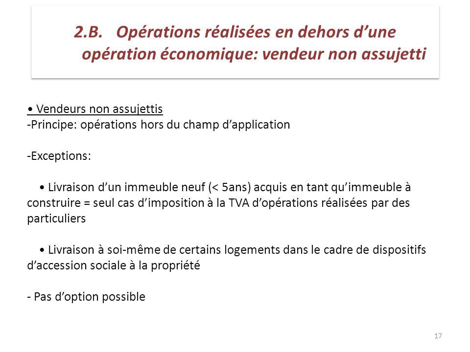 2.B. Opérations réalisées en dehors d'une opération économique: vendeur non assujetti