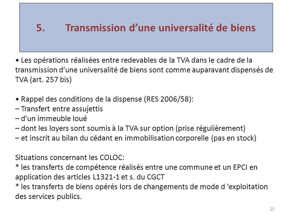 5. Transmission d'une universalité de biens