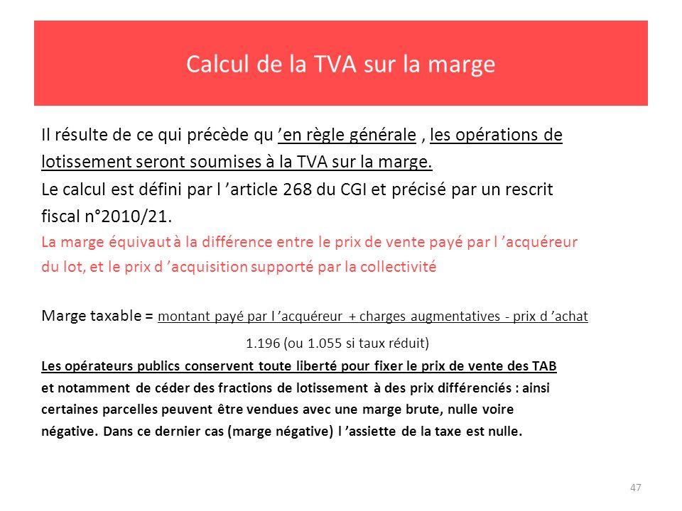 Calcul de la TVA sur la marge