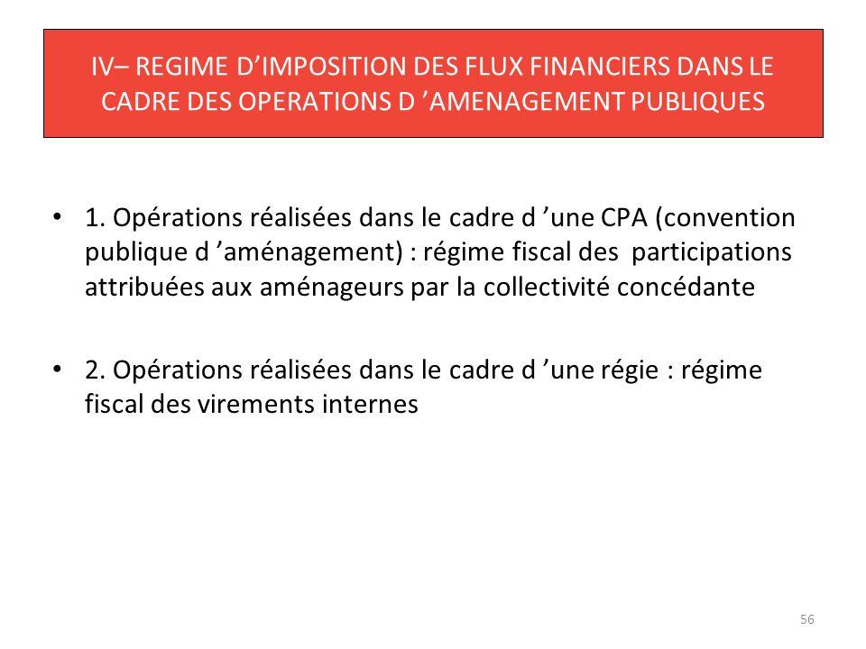 IV– REGIME D'IMPOSITION DES FLUX FINANCIERS DANS LE CADRE DES OPERATIONS D 'AMENAGEMENT PUBLIQUES