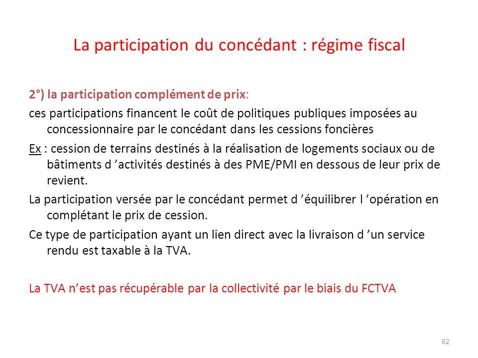 La participation du concédant : régime fiscal