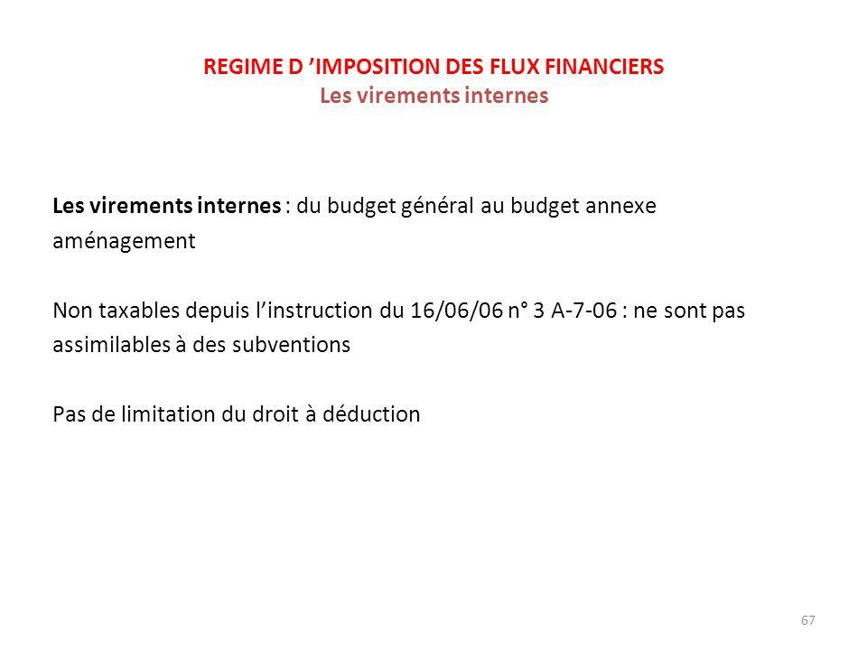 REGIME D 'IMPOSITION DES FLUX FINANCIERS Les virements internes