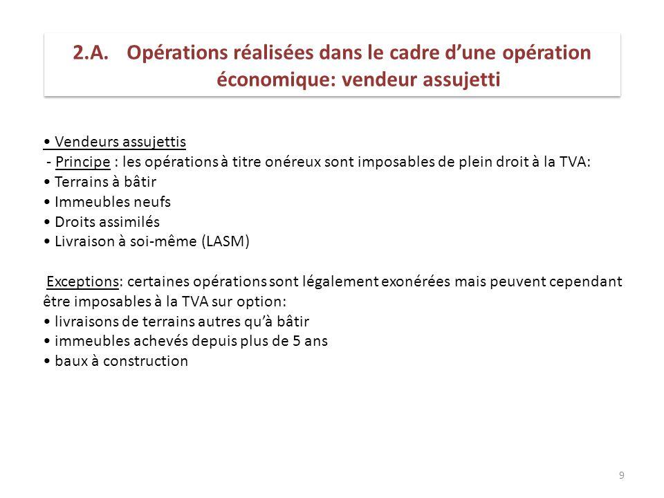 2.A. Opérations réalisées dans le cadre d'une opération économique: vendeur assujetti