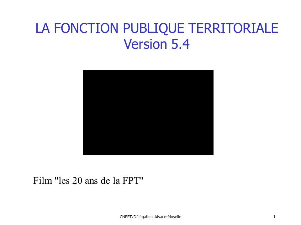 LA FONCTION PUBLIQUE TERRITORIALE Version 5.4