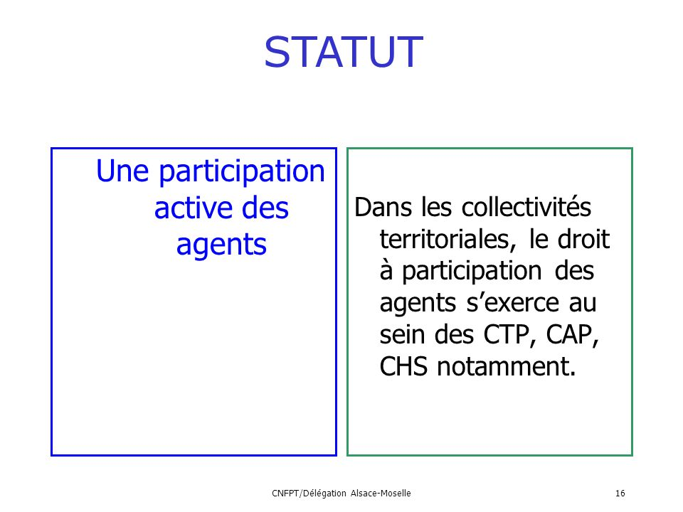 STATUT Une participation active des agents