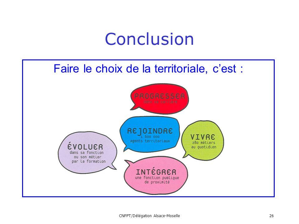 Conclusion Faire le choix de la territoriale, c'est :