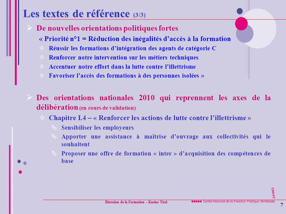 Les textes de référence (3/3)