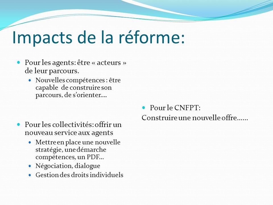 Impacts de la réforme: Pour les agents: être « acteurs » de leur parcours.