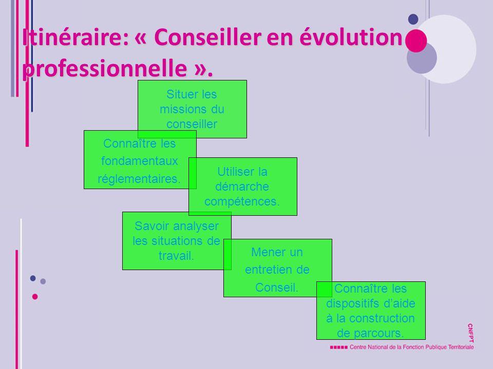 Itinéraire: « Conseiller en évolution professionnelle ».