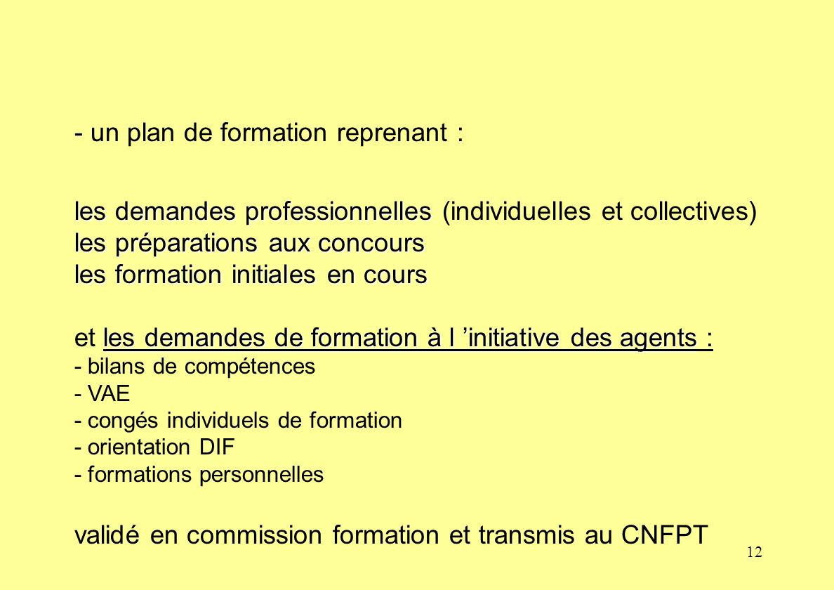 - un plan de formation reprenant :