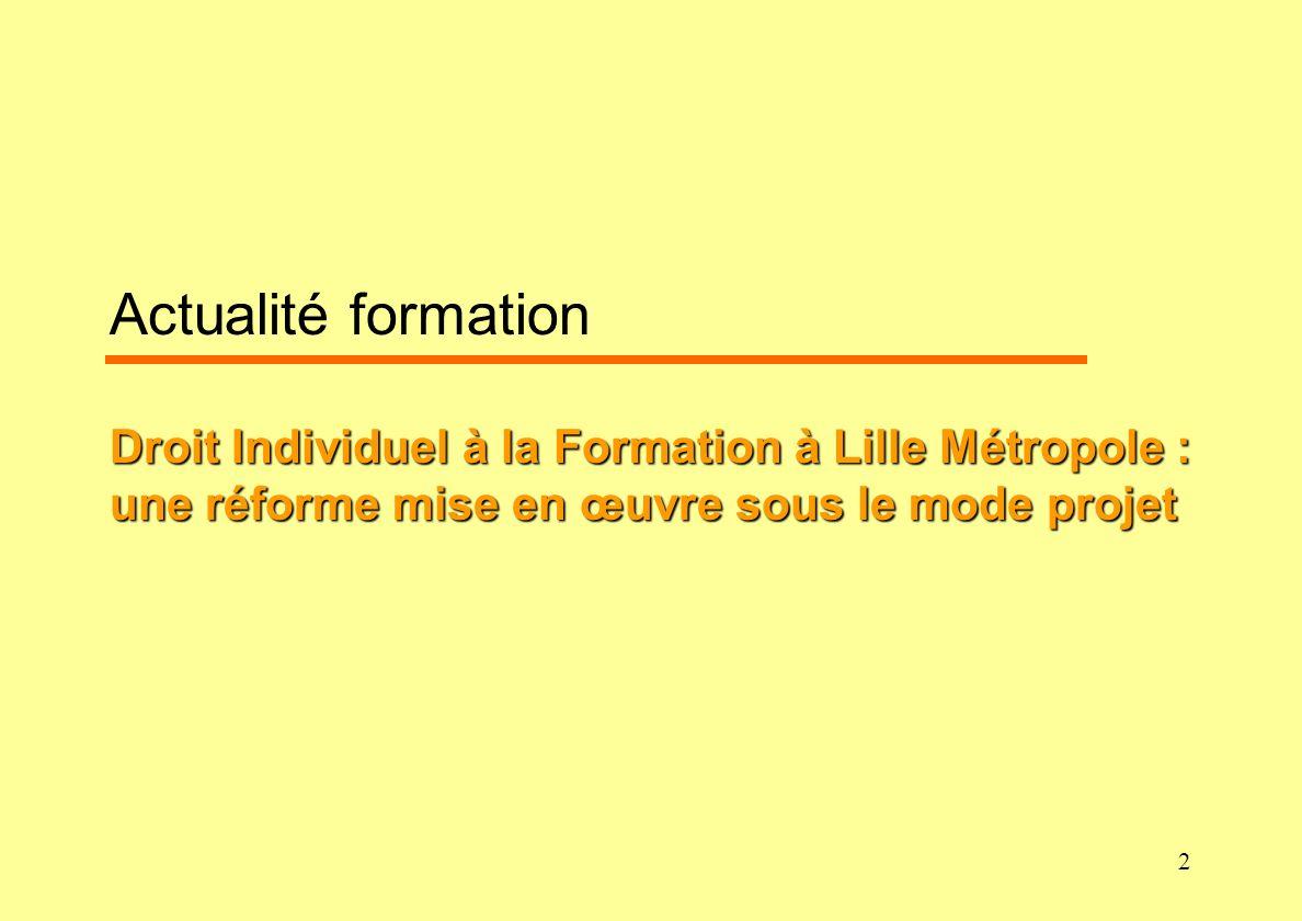 Actualité formation Droit Individuel à la Formation à Lille Métropole : une réforme mise en œuvre sous le mode projet