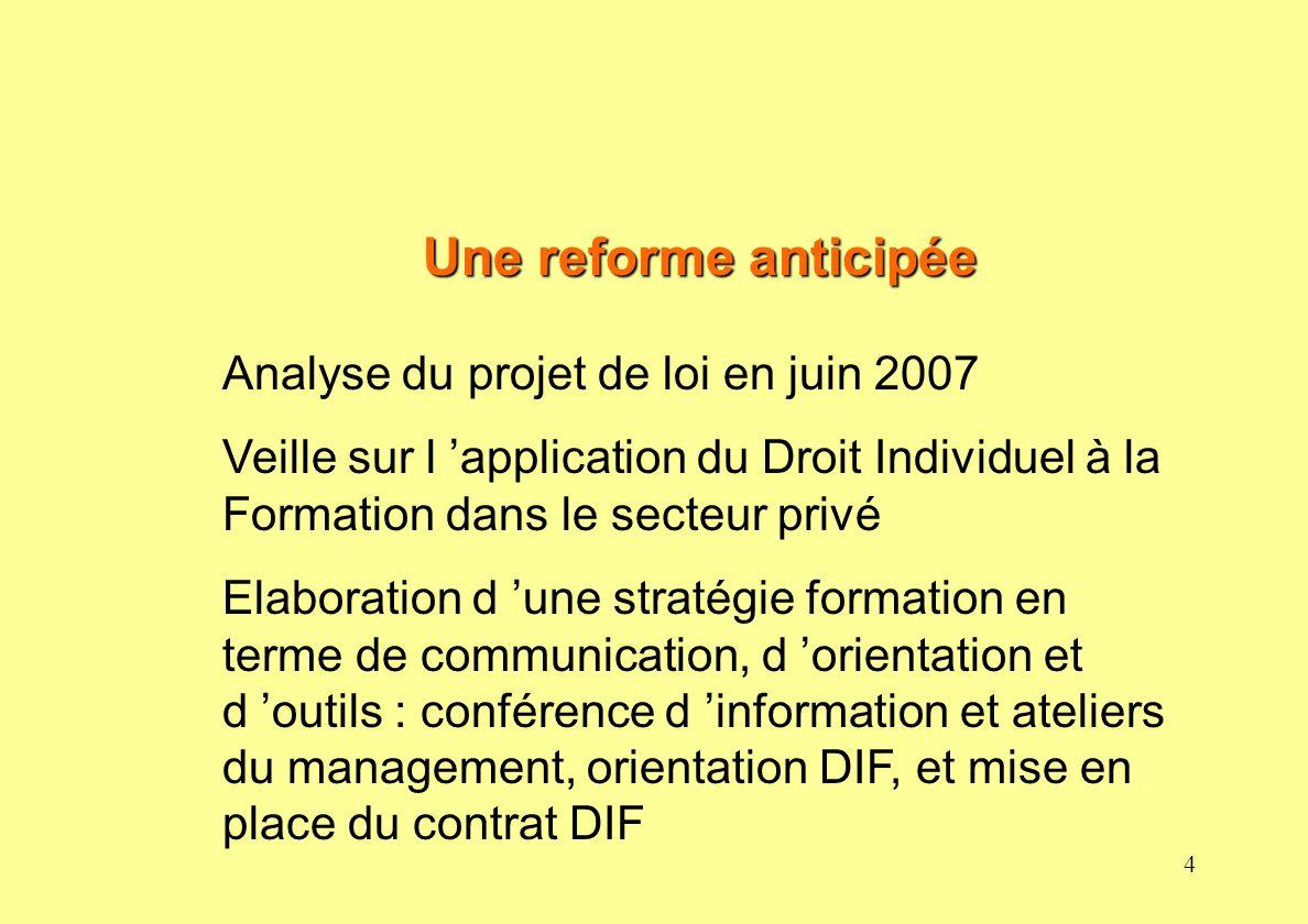 Une reforme anticipée Analyse du projet de loi en juin 2007