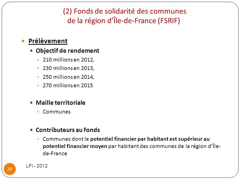 (2) Fonds de solidarité des communes de la région d'Île-de-France (FSRIF)