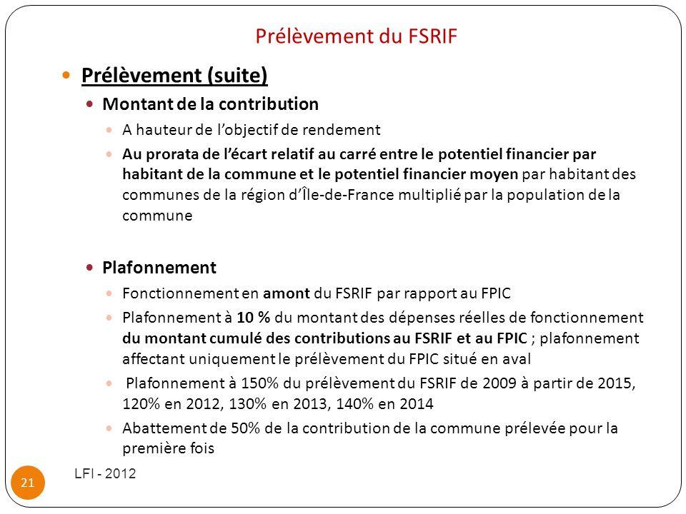 Prélèvement du FSRIF Prélèvement (suite) Montant de la contribution