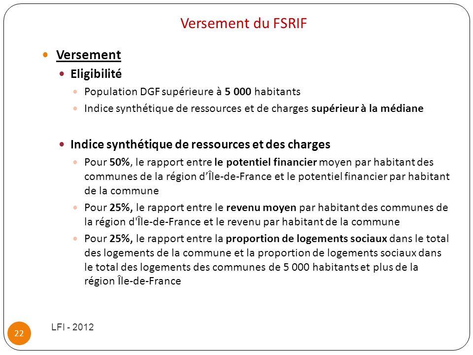 Versement du FSRIF Versement Eligibilité