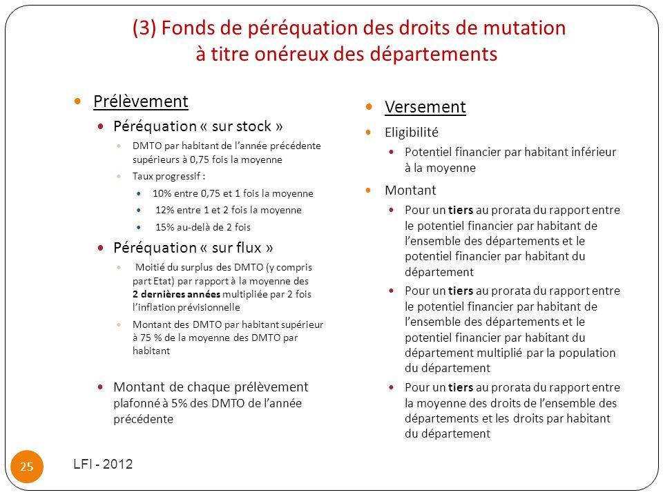 (3) Fonds de péréquation des droits de mutation à titre onéreux des départements