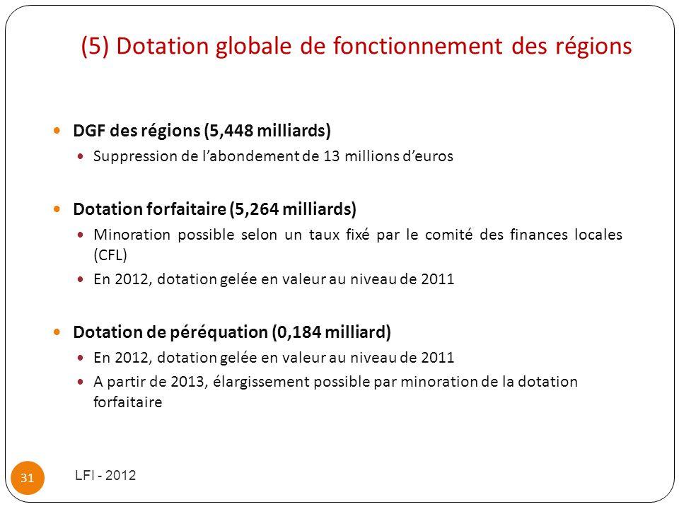 (5) Dotation globale de fonctionnement des régions