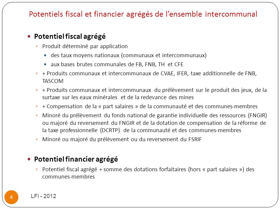 Potentiels fiscal et financier agrégés de l'ensemble intercommunal