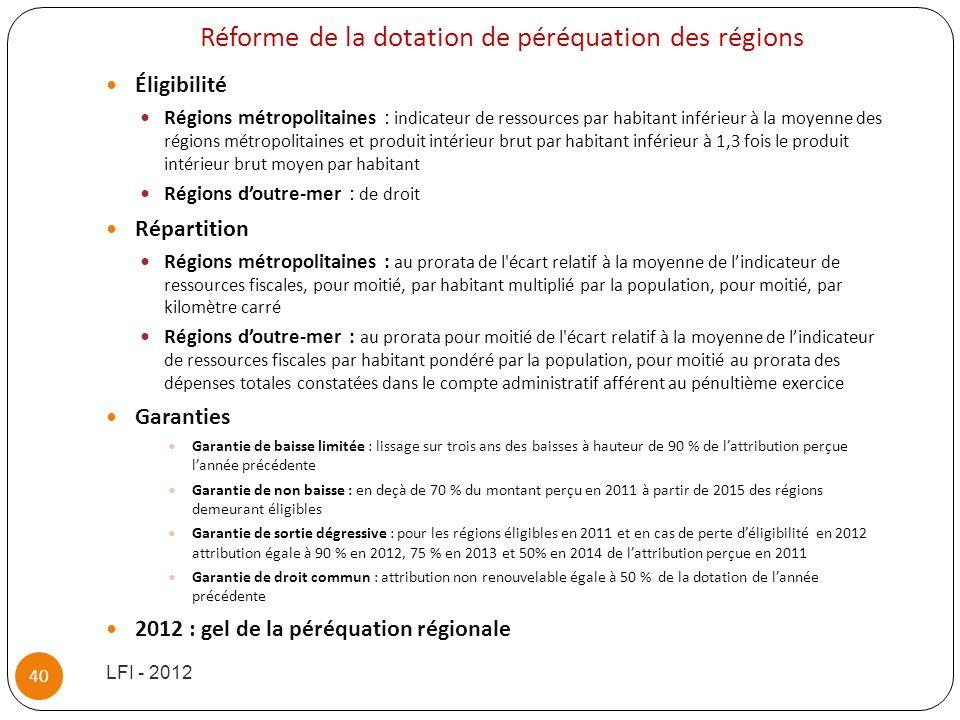 Réforme de la dotation de péréquation des régions
