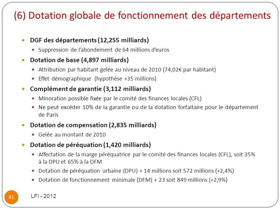 (6) Dotation globale de fonctionnement des départements