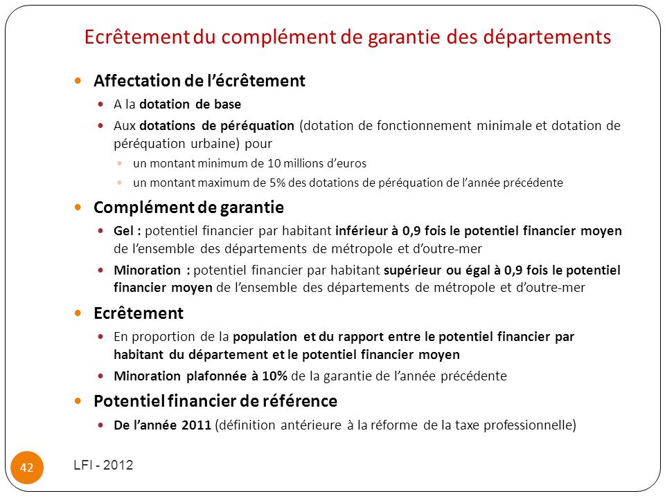 Ecrêtement du complément de garantie des départements