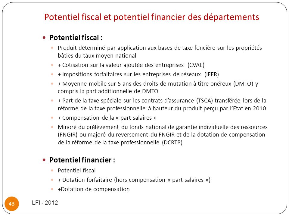 Potentiel fiscal et potentiel financier des départements