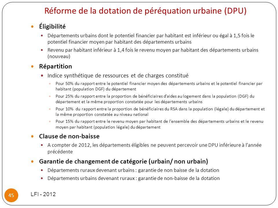 Réforme de la dotation de péréquation urbaine (DPU)