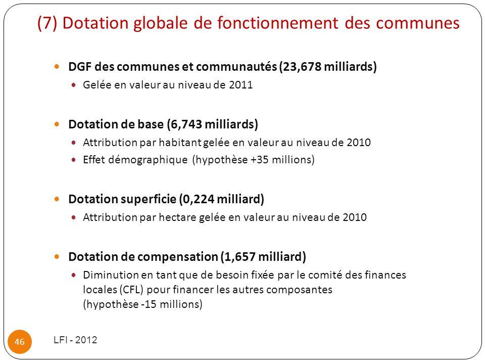 (7) Dotation globale de fonctionnement des communes