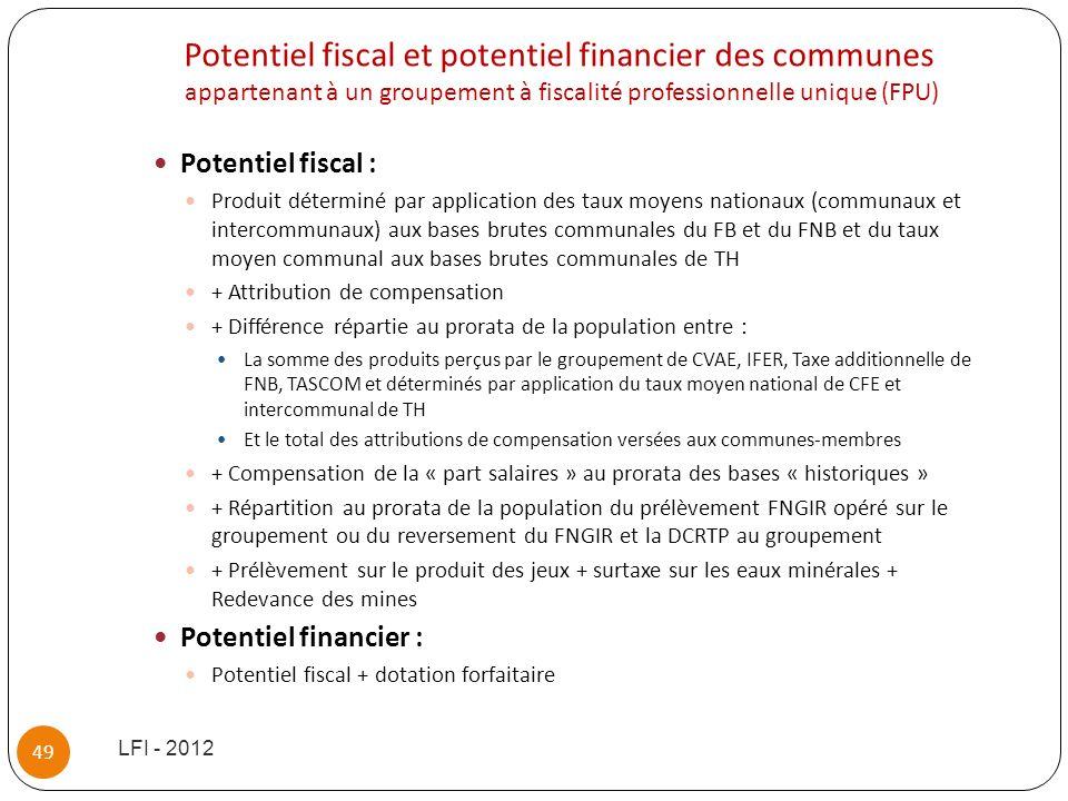 Potentiel fiscal et potentiel financier des communes appartenant à un groupement à fiscalité professionnelle unique (FPU)
