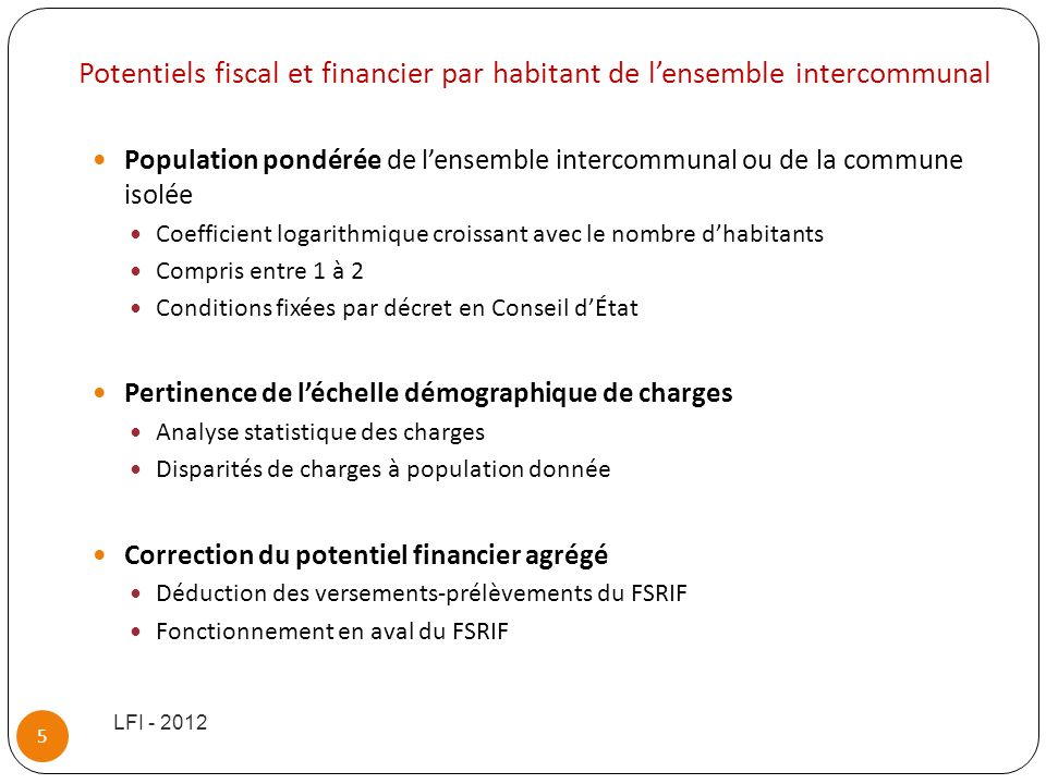 Potentiels fiscal et financier par habitant de l'ensemble intercommunal