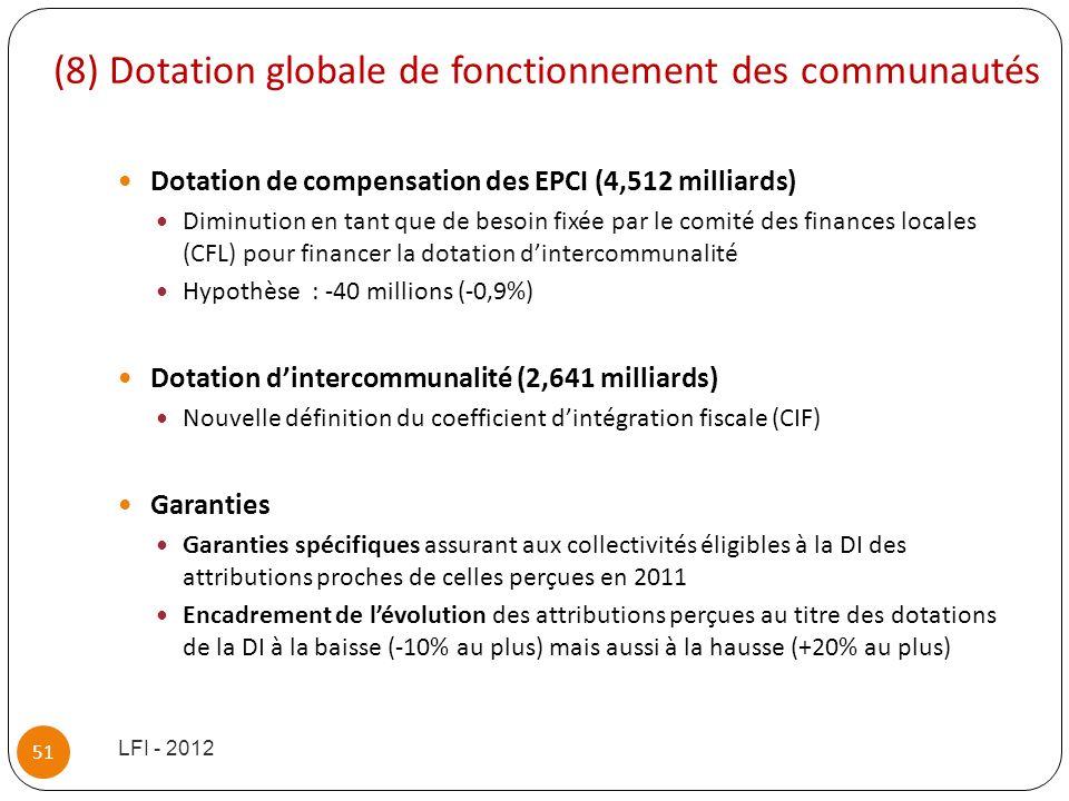 (8) Dotation globale de fonctionnement des communautés