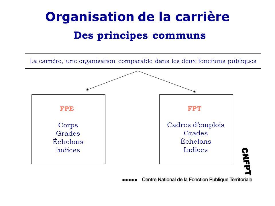 Organisation de la carrière Des principes communs