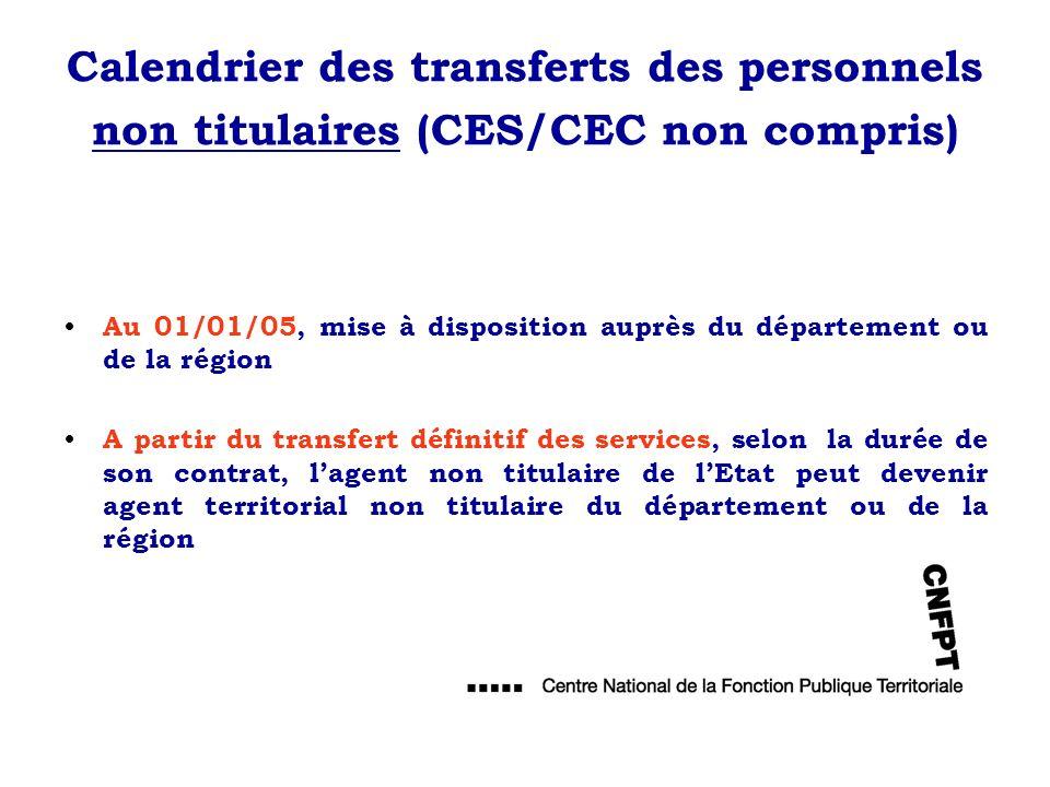 Calendrier des transferts des personnels non titulaires (CES/CEC non compris)