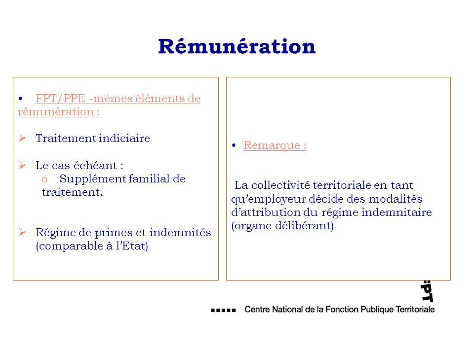 Rémunération FPT/PPE -mêmes éléments de rémunération :
