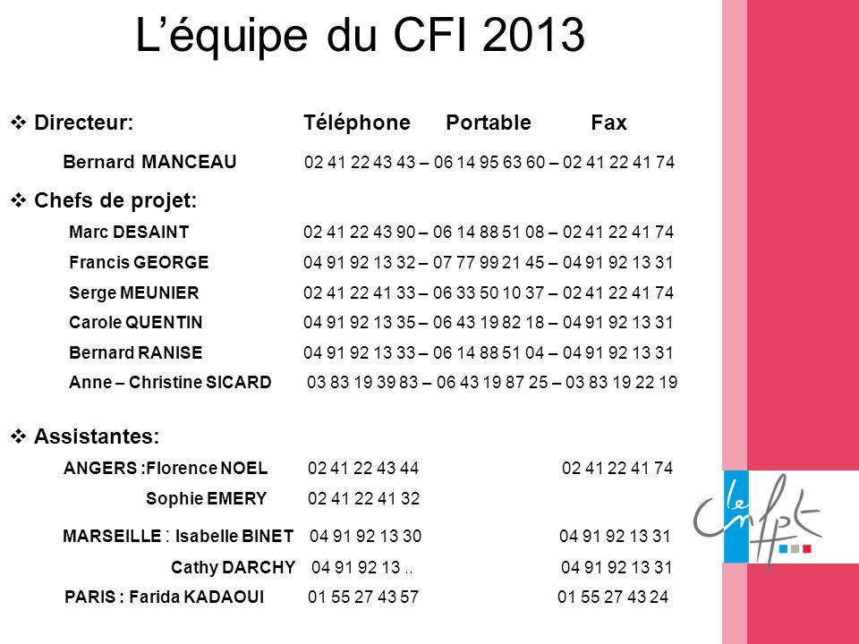 L'équipe du CFI 2013 Directeur: Téléphone Portable Fax