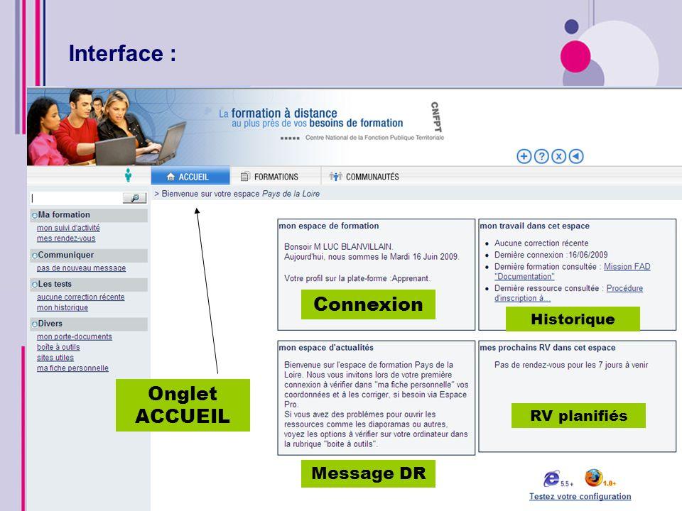 Interface : Connexion Onglet ACCUEIL Message DR Historique