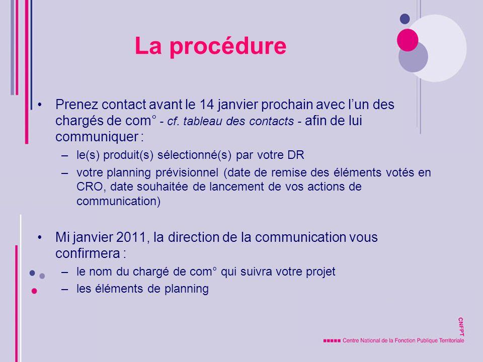 La procédure Prenez contact avant le 14 janvier prochain avec l'un des chargés de com° - cf. tableau des contacts - afin de lui communiquer :