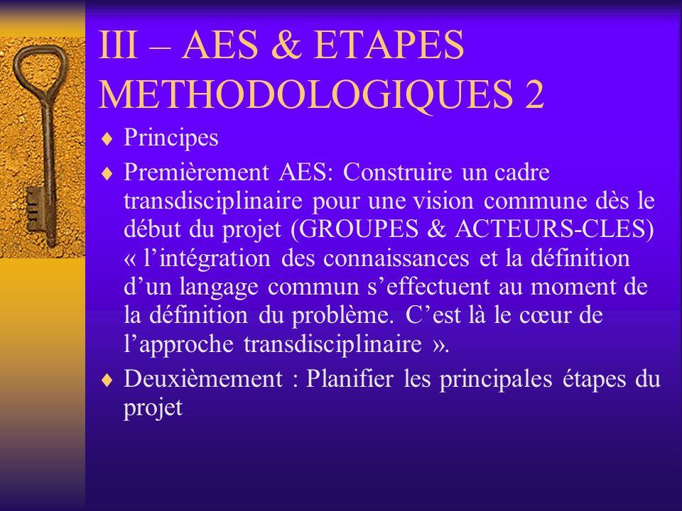 III – AES & ETAPES METHODOLOGIQUES 2